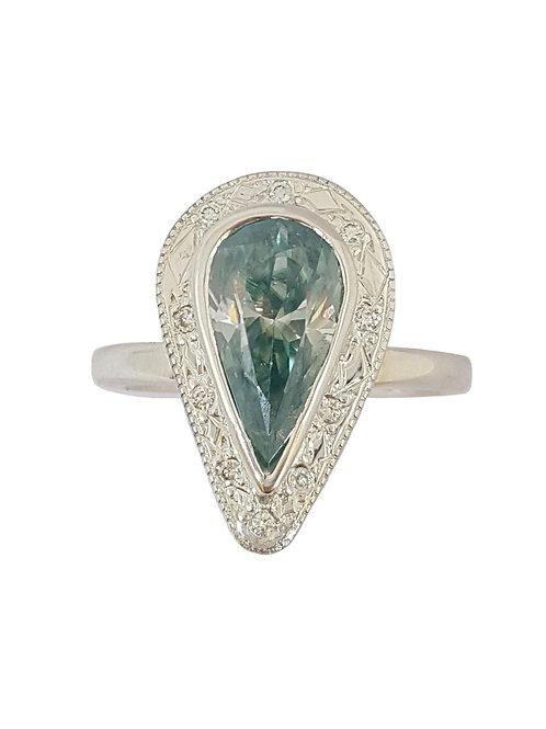 *CD DESIGNER* 2.274ct Pear Moissanite and Diamond Ring