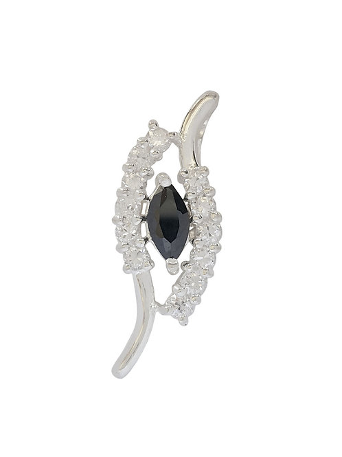 925 Sterling Silver Black and Clear CZ Pendant