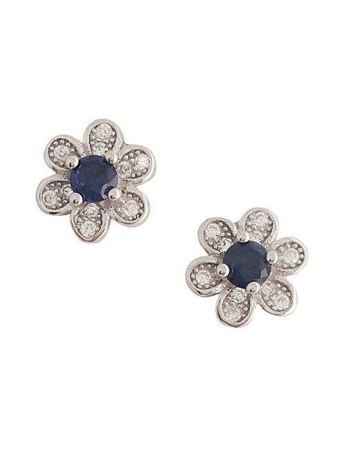 Sterling Silver Sapphire Blue CZ Flower Stud Earrings