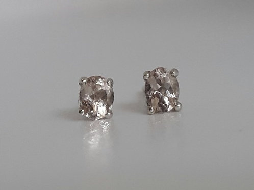 Morganite Earrings in Sterling Silver
