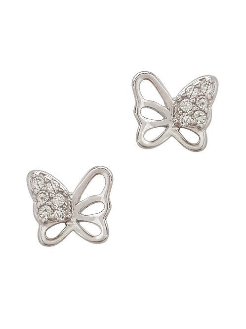 Clear CZ Butterfly Style Stud Earrings in 925 Sterling Silver