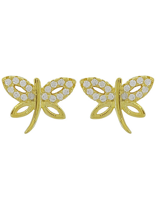 Yellow Gold Plated Firefly Stud Earrings in 925 Sterling Silver