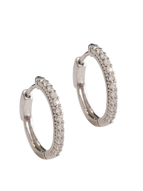 0.12ctw Clear CZ Hoop Earring with lock in 925 Sterling Silver