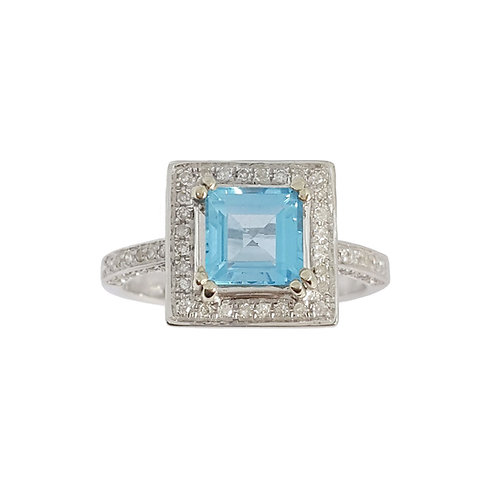 0.96ct Swiss Blue Topaz and Diamond Ring in White Gold
