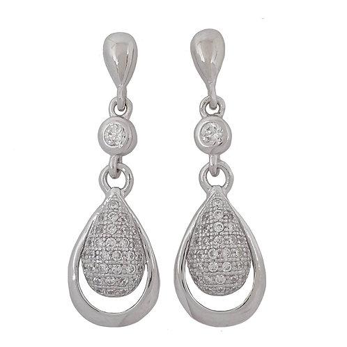 Clear CZ Drop Earrings in 925 Sterling Silver
