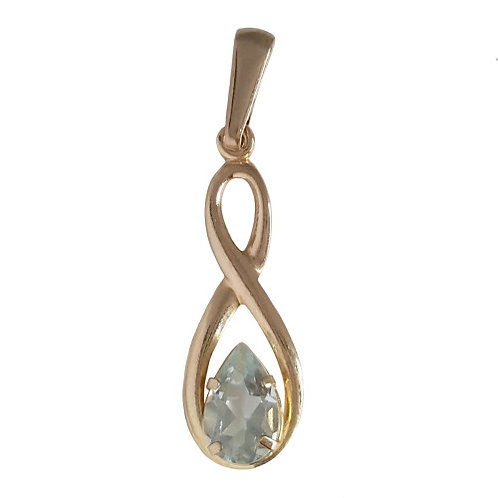 0.5ctw Natural Topaz Infinity Pendant in 9k Yellow Gold