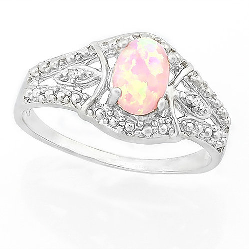 0.45ctw Pink Created Opal and Diamond Ring in 925 Sterling Silver