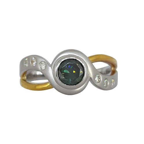 *CD DESIGNER* 0.651ct Moissanite and Diamond Cross Over Ring