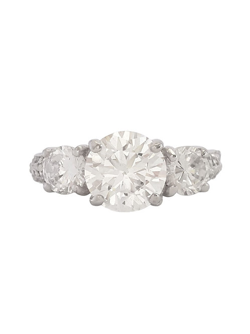 3.08ctw CZ Trilogy Ring in Sterling Silver