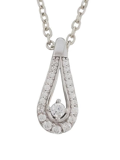 0.20ctw Cubic Zirconia Tear Drop Style Pendant in 925 Sterling Silver