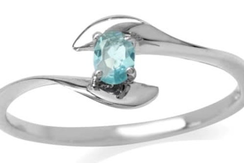 0.20ct Simulated Aqua Ring in 925 Sterling Silver
