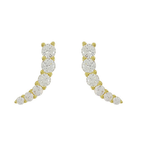 Yellow Gold Plated Curved Stud Earrings in 925 Sterling Silver
