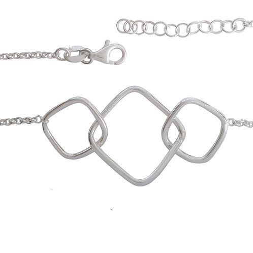 Interlinked Square and Rolo Style Bracelet in Sterling Silver
