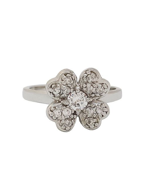 4 Leaf Clover Style CZ Ring in Sterling Silver