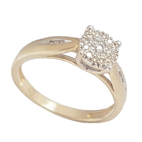 Diamond Cluster Ring in 9k Yellow Gold