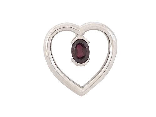 *CD DESIGNER* 0.75ct Garnet Red CZ Heart Pendant in Sterling Silver