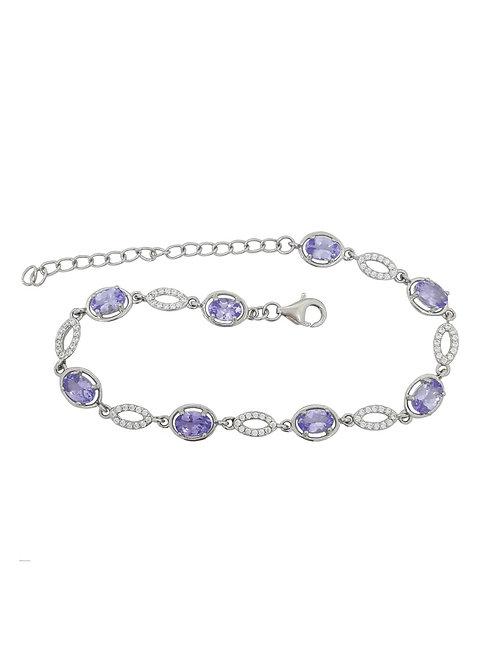 3.04ctw Tanzanite Bracelet in 925 Sterling Silver