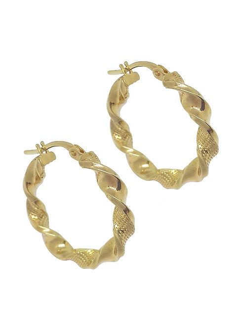 9K Yellow Gold 15mm Hollow Twist Design Earrings