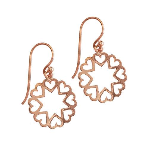 Rose gold Filigree Design Drop Earring in Sterling Silver