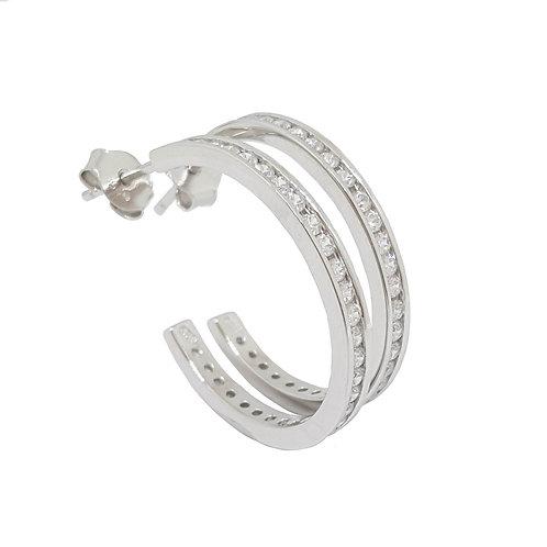 0.30ctw Clear CZ Hoop Earrings in 925 Sterling Silver