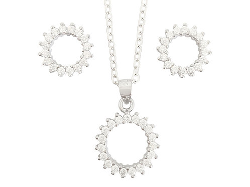 Circle of Life Style Pendant and Earrings set in 925 Sterling Silver