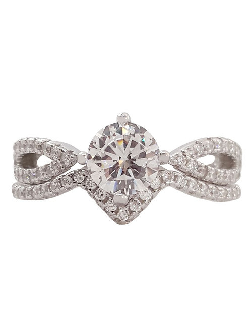 Solitaire CZ 2 piece Set in 925 Sterling Silver