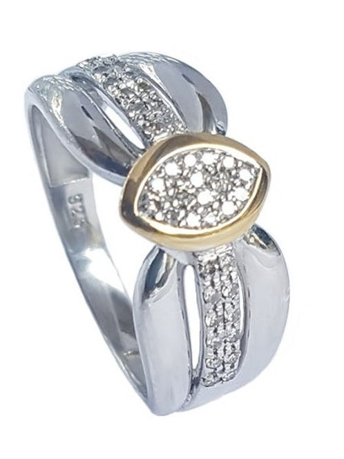 0.14ctw Diamond Cluster Style Two Tone Ring in 925 Sterling Silver