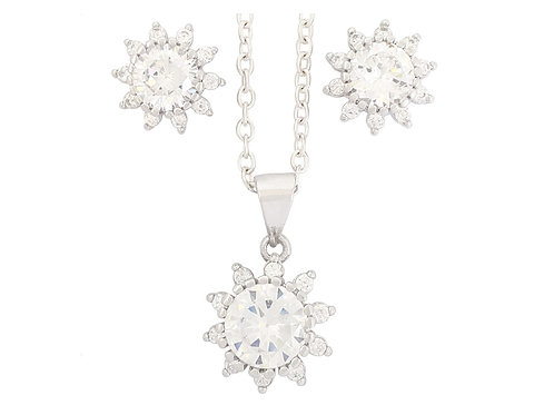 CZ Flower Design Pendant and Earring set in 925 Sterling Silver