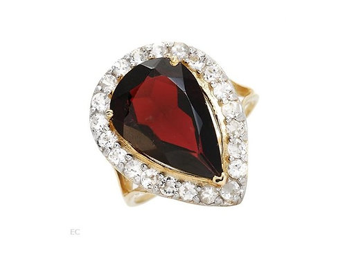 Garnet and Topaz Ring in 10K Yellow Gold- Size 7