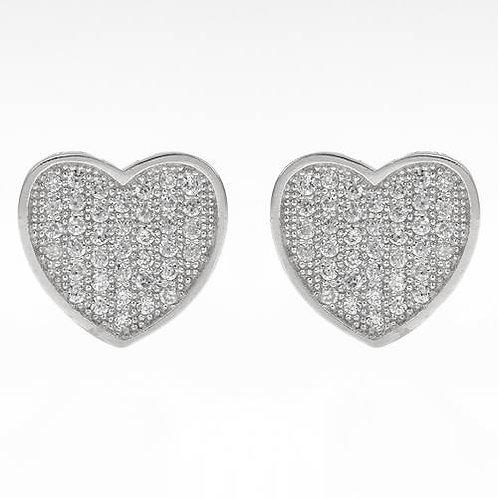 Heart Stud Earrings with CZ in 925 Sterling Silver