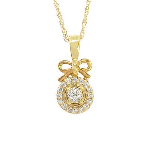 0.235ct Diamond Bow Tie Pendant in 10kt Yellow Gold