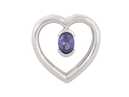*CD DESIGNER* 0.75ct Tanzanite Blue CZ Heart Pendant in Sterling Silver