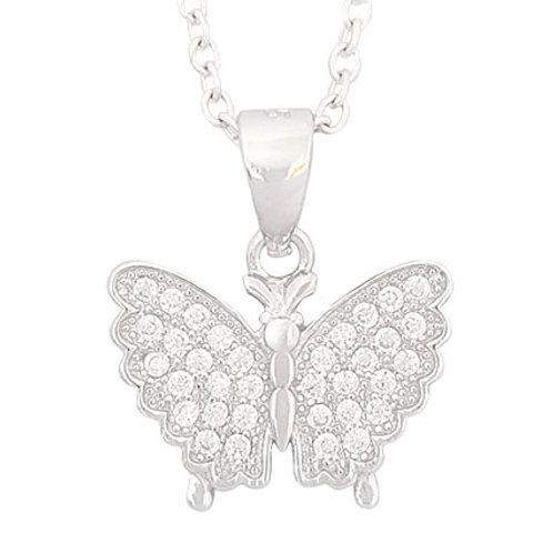 0.085ctw CZ Butterfly Shape Pendant in 925 Sterling Silver