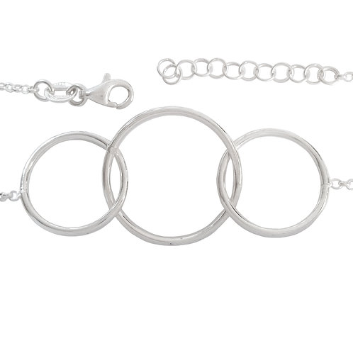 Interlinked Circles and Rolo Style Bracelet in Sterling Silver