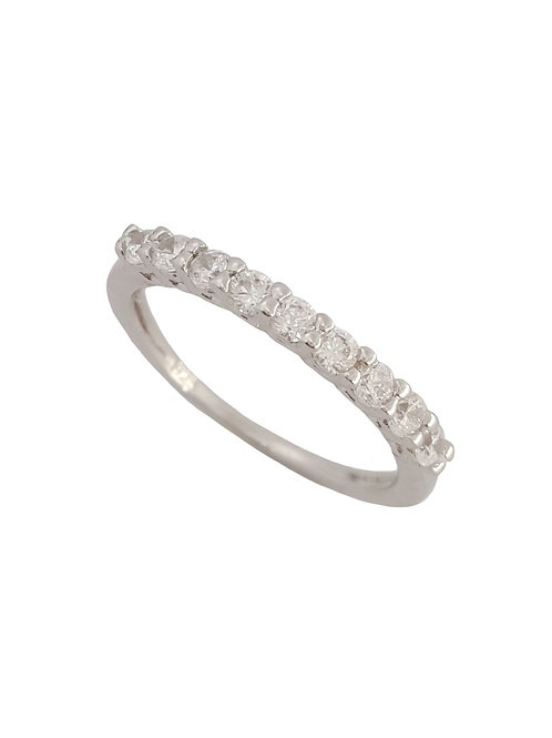Cubic Zirconia Half Eternity Band in 925 Sterling Silver