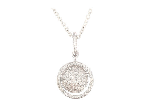 Cluster Style Double Circle of Life CZ Pendant in 925 Sterling Silver
