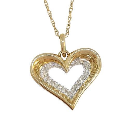 0.15ctw Diamond Heart Pendant and Necklace