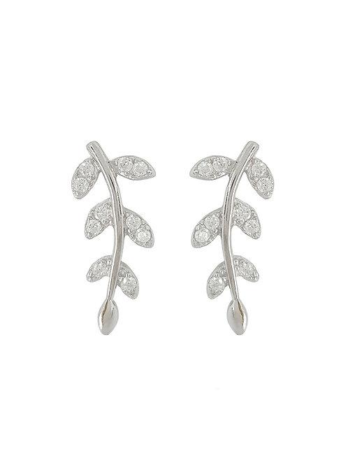 0.05ctw 925 Sterling Silver Cubic Zirconia Leaf Stud Earrings