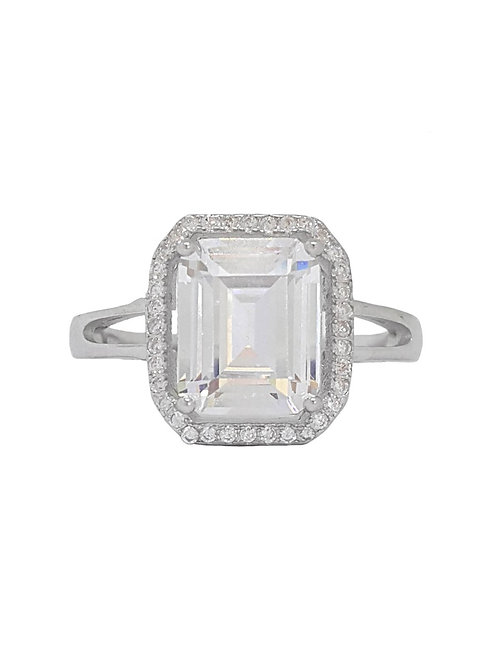 Emerald Cut Halo Split Band Ring in 925 Sterling Silver