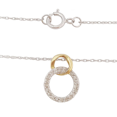 0.20ctw Diamond Double Circle Pendant with a Chain