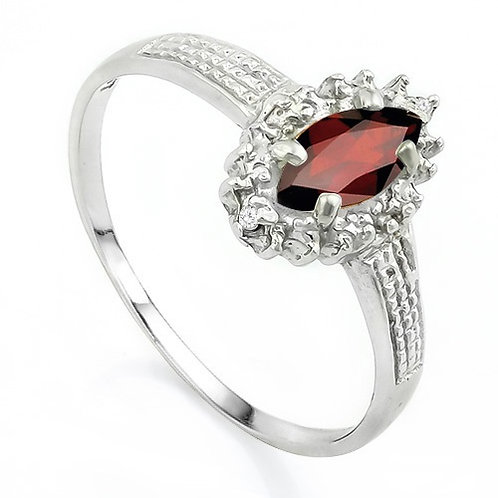 0.71ctw Garnet and Diamond Ring in 925 Sterling Silver- Size 7