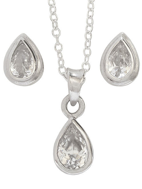 Pear CZ Pendant and Earring Set in Sterling Silver