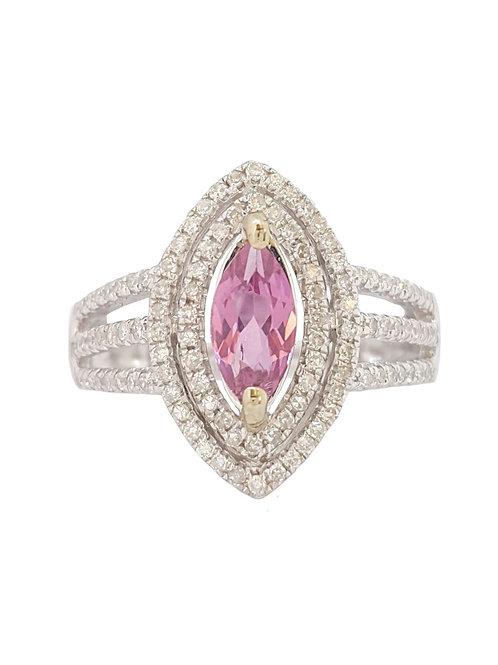 0.66ct Pink Marquise Tourmaline & Diamond Ring