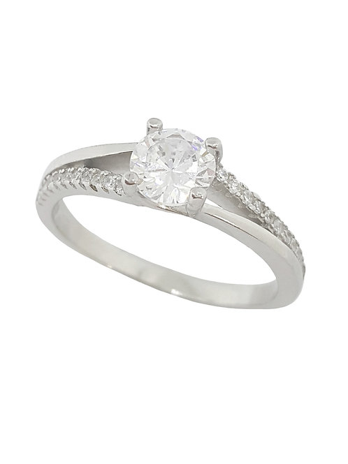0.81ctw CZ Split Band Ring in 925 Sterling Silver- Size O