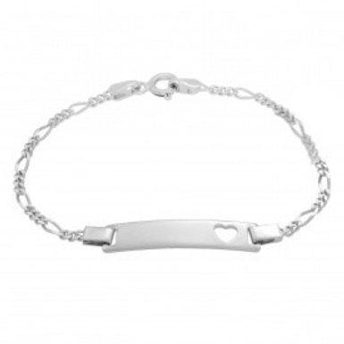 Heart ID Figaro Style Bracelet in Sterling Silver