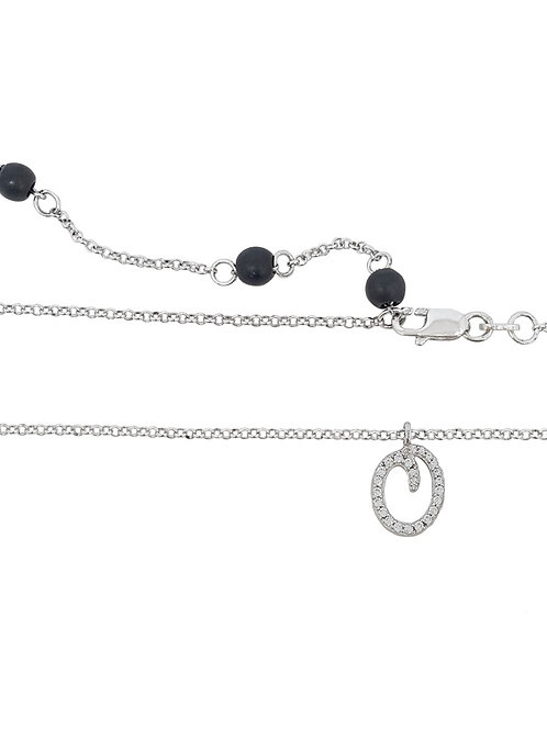 925 Sterling Silver Letter 'Q' Pendant with CZs and rolo style Necklace