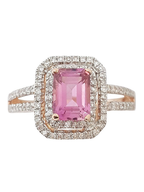 0.94ct Tourmaline and Diamond Ring in 14K Rose Gold