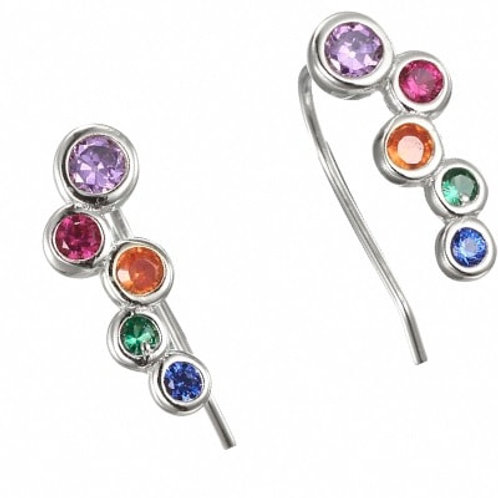 Multi Colour CZ Drop Earrings in 925 Sterling Silver