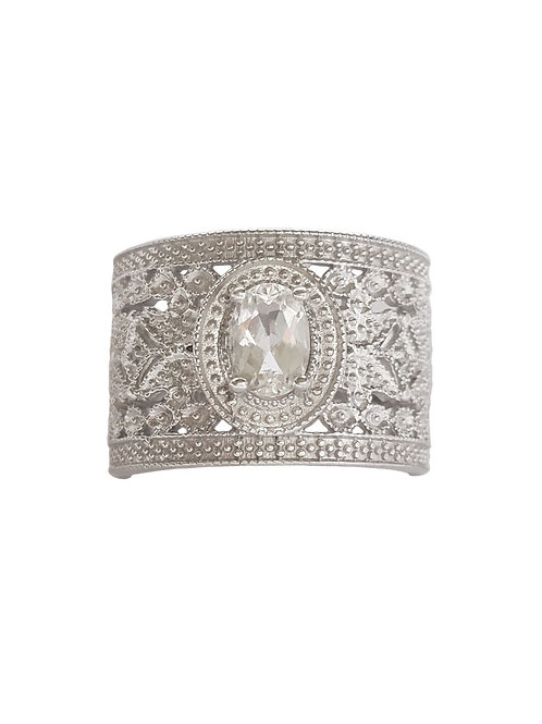 0.76ctw CZ Broad Oval Ring 925 Sterling Silver