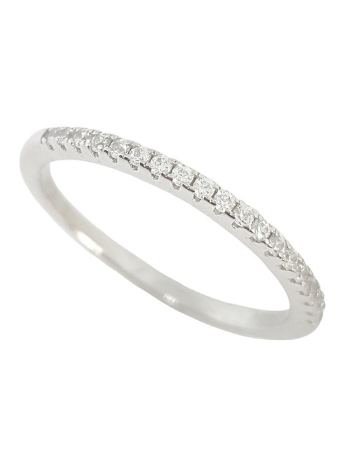 Half Eternity Cubic Zirconia Band in 925 Sterling Silver - Size O